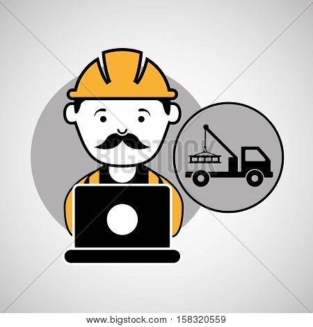 under construction laptop worker tow car vector illustration eps 10