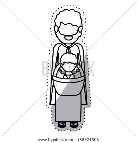Joseph and baby jesus icon. Nativity merry christmas season and decoration theme. Isolated design. Vector illustration