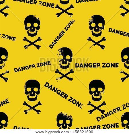 Danger zone seamless pattern. Grunge skull crossbones background vector