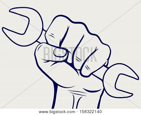 Working hand with wrench silhouette. Labor day icon vector