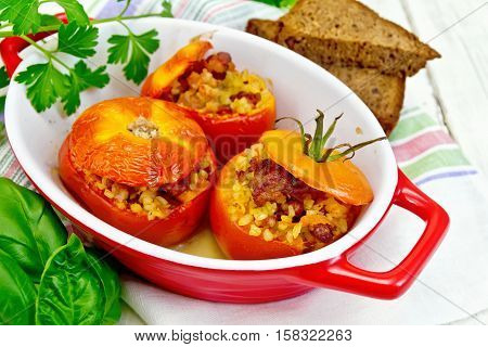 Tomatoes Stuffed With Bulgur In Pan On Board
