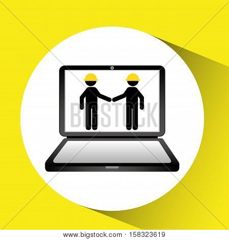 under construction web page team worker vector illustration eps 10