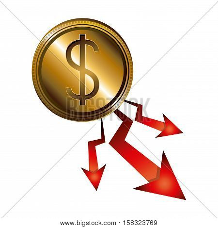 Decrease and coin icon. Money financial item commerce market and economy theme. Isolated design. Vector illustration
