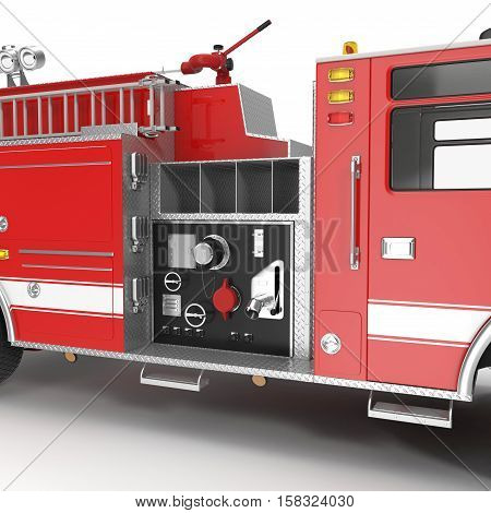 equipment of a modern fire engine on White background. 3D illustration