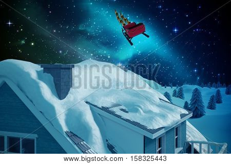 Snow on roof of 3D house against illuminated igloo on snow field