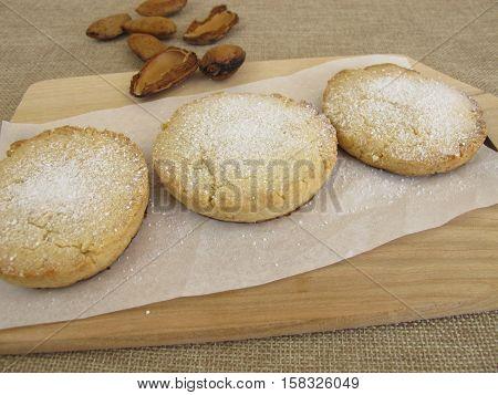 Homemade polvoron shortbread cookies on baking paper