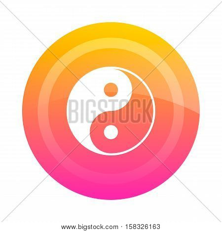 Button Yin Yang vector image. Colored button with the sign of Yin-Yang in the center. Icon.