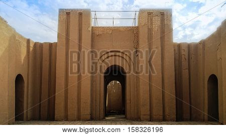 Gate of partially restored Babylon ruins Hillah Iraq poster