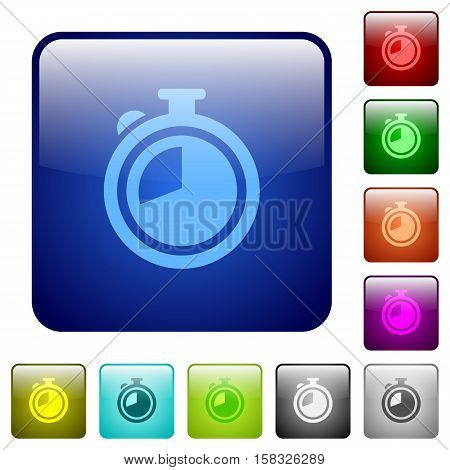 Timer color glass rounded square button set
