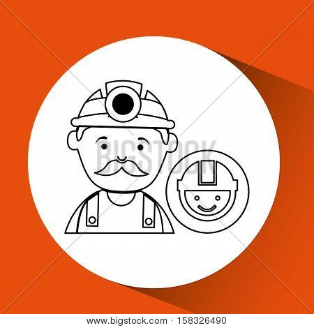 mine worker pickaxe with face icon vector illustration eps 10