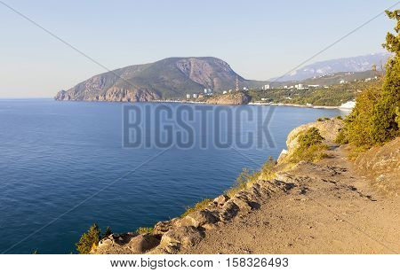 View of Mount Ayu-Dag to Cape Plaka. Crimea. Russia