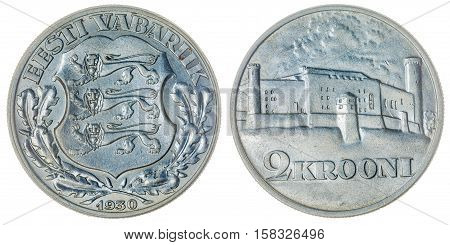 2 Krooni 1930 Coin Isolated On White Background, Estonia