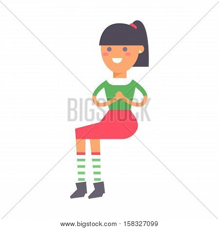 Happy sitting girl vector character. Young beautiful woman looking positive. Pretty model female in fashion red dress. Happiness relaxation style design cute teen.