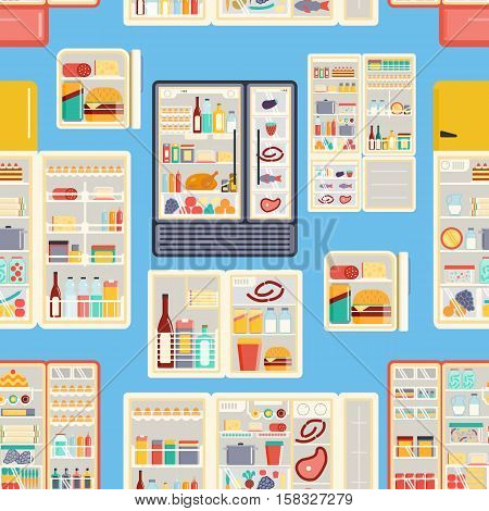 Illustration of open refrigerator products with food, drinks and kitchenware. Appliance food kitchen fruit freezer open refrigerator products. Seamless pattern