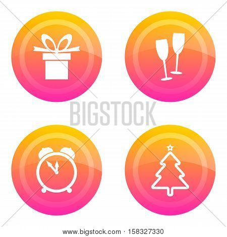 Set of buttons with Christmas symbols. Vector image. The colour buttons with the signs of Christmas trees gifts champagne midnight. Icon.