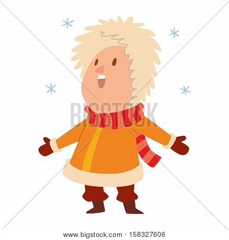 Christmas kid playing winter games. Cartoon New Year winter holidays background.