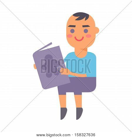 Enthusiastic little boy with book sitting on floor isolated on white. Small person caucasian fun, family concept baby kid read book vector character. Baby kid read book child education.