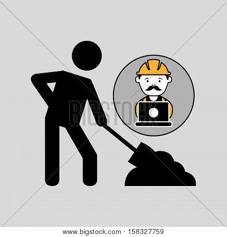 under construction laptop worker vector illustration eps 10