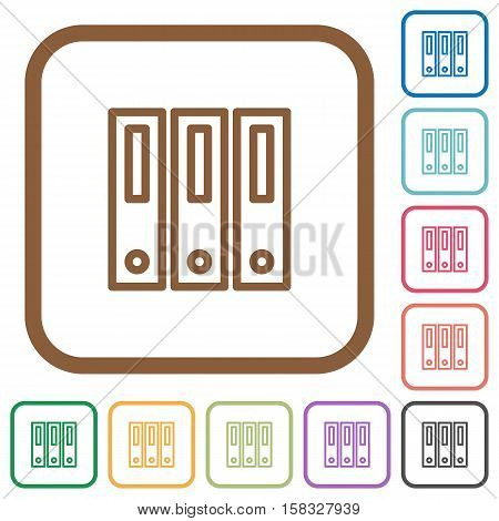 Binders simple icons in color rounded square frames on white background