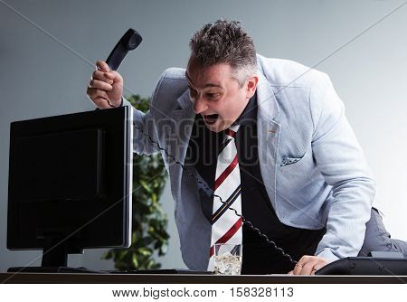 Angry Plump Manager Destroying His Pc