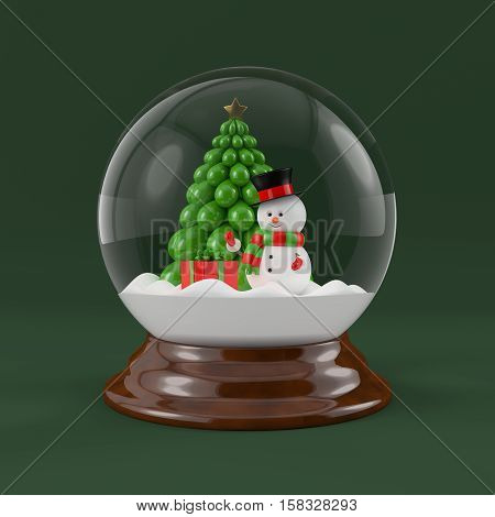 3d rendering of snowman in a snow globe. Christmas concept.