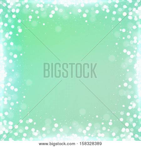 Gradient Mint Green Square Background With Bokeh Border