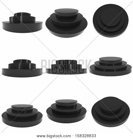 Round stage black podium for award ceremony set. 3D render illustration pedestal isolated on whithe background collection