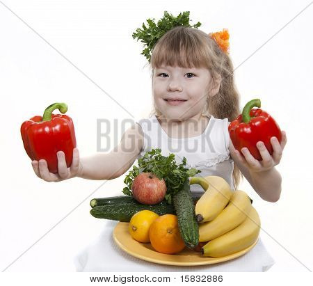 Vegetables and fruit it are a healthy food of children. Child holds different vegetables and fruit. poster