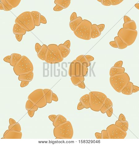 Seamless pattern with ruddy croissants for wrapping, kraft, cards, textile, print. Croissant with sesame seeds. Food ingredients background. Vector colorful illustration