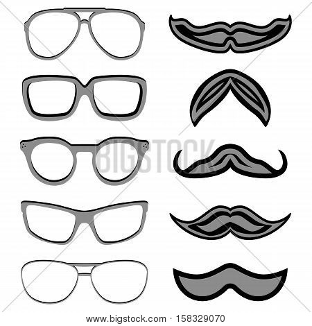 Set of hipster nerd glasses and stylish mustaches on white. Web Banner Vector Flat Design. Vector Mustache and Glasses Icons. Hipster creative design template illustration