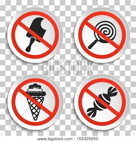 No food and Ice Cream Prohibition Signs on White Round Plate. No Ice Cream Vector Illustration on transparent background