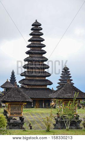 Pura Besakih temple and traditional black pagoda at Bali Indonesia