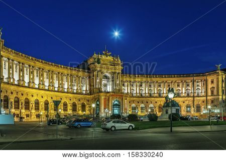 Neue Burg (New Castle) of Hofburg Palace was completed in 1913 Vienna Austria. Evening