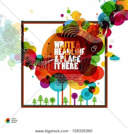 Funky color circles graphic design. Abstract vector background.