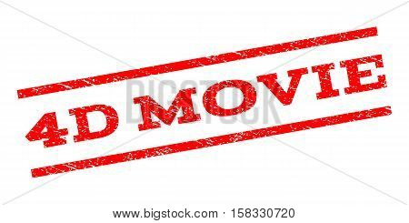 4D Movie watermark stamp. Text tag between parallel lines with grunge design style. Rubber seal stamp with unclean texture. Vector red color ink imprint on a white background. poster