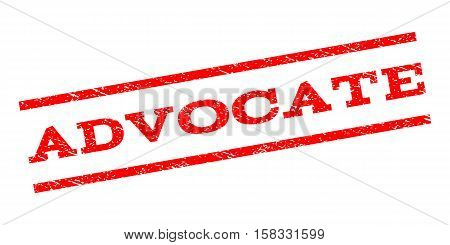 Advocate watermark stamp. Text caption between parallel lines with grunge design style. Rubber seal stamp with scratched texture. Vector red color ink imprint on a white background.