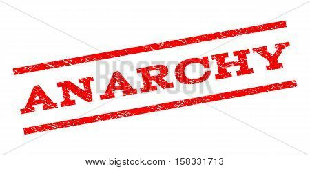 Anarchy watermark stamp. Text caption between parallel lines with grunge design style. Rubber seal stamp with unclean texture. Vector red color ink imprint on a white background.