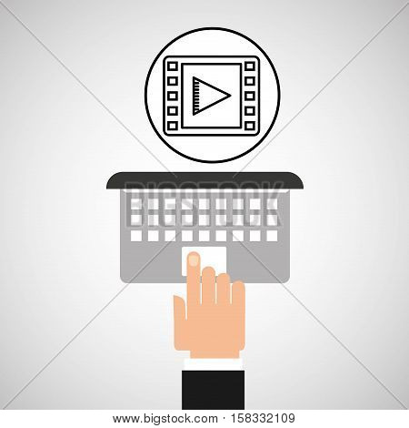hand touch laptop web movie vector illustration eps 10