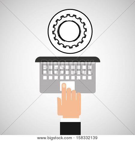 hand touch laptop web progress vector illustration eps 10