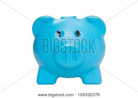 Blue piggy bank isolated on white background