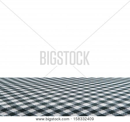 Empty table and black tablecloth isolated on white background - use for your photomontage or product display