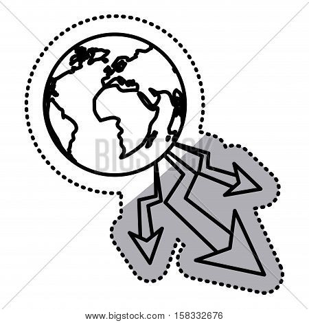 Decrease and planet icon. Money financial item commerce market and economy theme. Isolated design. Vector illustration