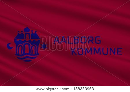 Flag of Aalborg is a municipality in Region Nordjylland on the Jutland peninsula in northern Denmark. 3d illustration