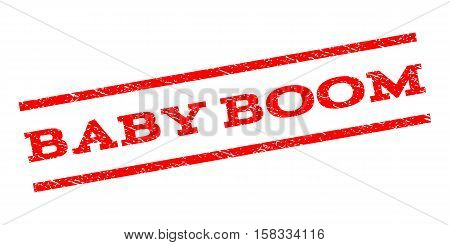 Baby Boom watermark stamp. Text caption between parallel lines with grunge design style. Rubber seal stamp with unclean texture. Vector red color ink imprint on a white background.