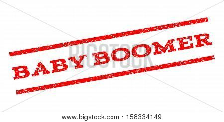 Baby Boomer watermark stamp. Text tag between parallel lines with grunge design style. Rubber seal stamp with dirty texture. Vector red color ink imprint on a white background.