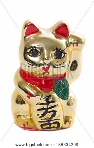 Golden japanese lucky cat and fortune ceramic talisman isolated on white background