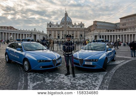 VATICAN CITY 14 november 2015 - Enhanced security in Rome after the terrorist attacks in Paris waiting for the jubilee.