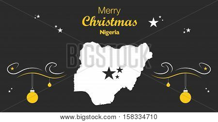 Merry Christmas Illustration Theme With Map Of Nigeria