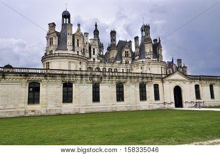 The Chateau de Chambord royal medieval castle France.