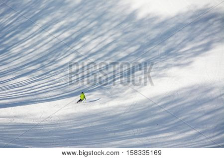 TERMINILLO ITALY - JANUARY 02 2015: Skier on the of Ski resort Terminillo mountains Apennines central Italy. This is the most important ski resort of the Lazio.